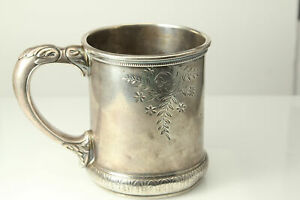 Vintage Monogrammed Sterling Silver 333 C Baby Or Child Cup Ant2184