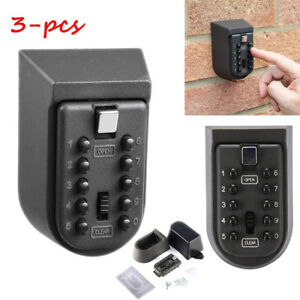 3x Outdoor Keys Safe Box Combination Security Holder Lock Wall Mount Car Home Se