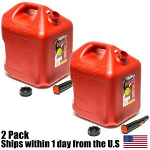 2pk 5 Gallon Red Gas Can Container Midwest Gas Company 5 Gal 5600