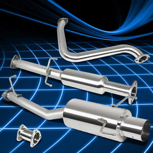 4 muffler Tip Racing Catback Exhaust System For 97 01 Honda Prelude Bb6 H22a 2 2