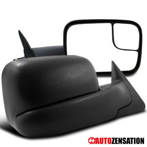 For 1994 2002 Dodge Ram 2500 3500 Black Manual Adjustment Towing Mirrors Pair