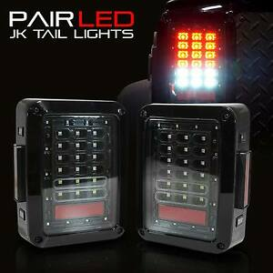 07 17 Jeep Wrangler Led Tail Light Jk Rear Black Brake Reverse Turn Signal Lamp
