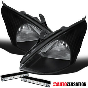For 2000 2004 Ford Focus Black Clear Lens Headlights 6 Led Bumper Fog Lamp Pair