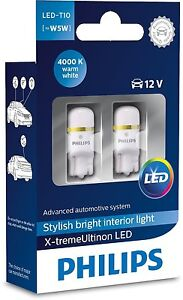 Genuine White Philips T10 Led W5w Bulbs For License Plate Side Parking Light
