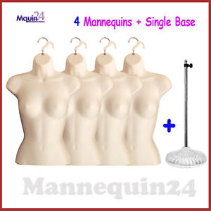 4 Female Mannequin Torsos 1 Stand 4 Hangers Flesh Women Dress Body Forms