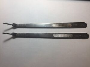 Lot 2 Pilling 35 2952 Stainless 8 1 8 3la Surgical Blade Knife Handle Vet Lab