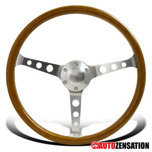 370mm 14 75 Aluminum Spokes Vintage Classic Wooden Wood Grain Steering Wheel