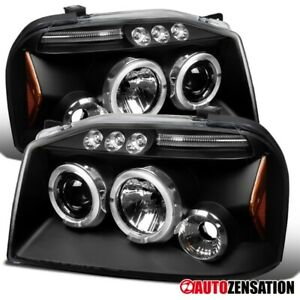 For 2001 2004 Nissan Frontier Black Led Drl Dual Halo Rim Projector Headlights