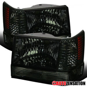 93 96 Jeep Grand Cherokee Smoke Headlight Bumper Lights Corner Signal Lights