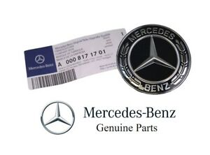Genuine Mercedes Benz Hood Black Silver Flat Laurel Wreath Badge Emblem