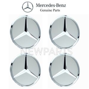 Mercedes W166 W204 Set Of 4 Chrome Center Hub Wheel Insert Cover Caps Genuine