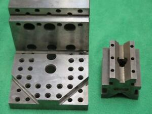 2 Machinist Milling Workholding Clamping Angle Block Knee V Vee Tee Slot Fixture