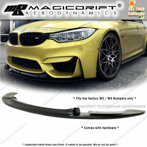 For Bmw F80 M3 F82 M4 Gt Style Front Bumper Lower Chin Lip Body Kit Black