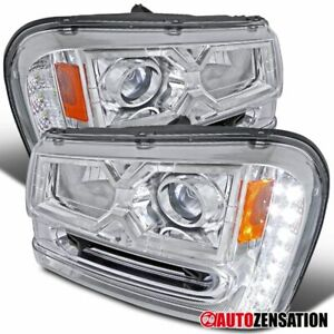 02 09 Chevy Trailblazer Smd Led Strip Chrome Projector Headlights
