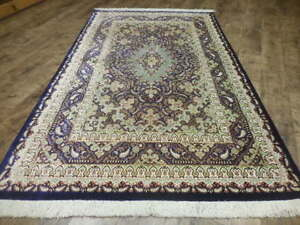 Super Super Fine Persian Signed 100 Pure Natural Silk Qom Qum Ghom Rug 4x7