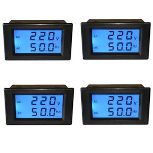 4x 2 wire Frequency Meter Digital Voltmeter Lcd Display Ac80 300v For Industrial