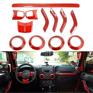 Red Steering Wheel Dashboard Air Outlet Cover Trim For 4 door Jeep Wrangler Jk