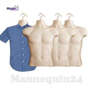 4 Pcs Male Torso Hanging Mannequin Forms Hard Plastic Flesh Hollow Back Body