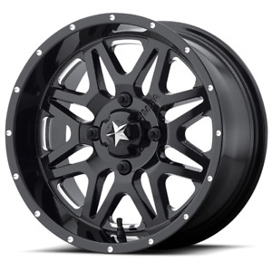 Set 4 14x7 00 4x156 Msa M26 Vibe Milled Gloss Black Wheels Rims 14 Inch 46866