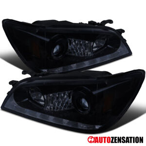 For 01 05 Lexus Is300 Glossy Black Led Strip Projector Headlights Smoke Lens