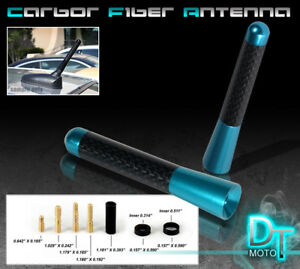 Blue 3 Inch Real Carbon Fiber Antenna Stubby Billet Aluminum For Car