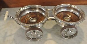 Vintage Silverplate And Wood Wine Bottle Coasters Trolley Wagon Design Holder