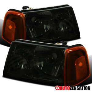 For 2001 2011 Ford Ranger Smoke Lens Headlights Amber Corner Turn Signal Lamps
