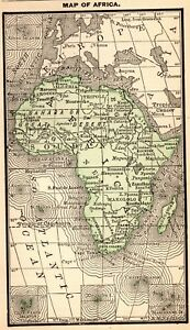 1888 Antique Africa Map Rare Miniature Vintage Map Of Africa 4655
