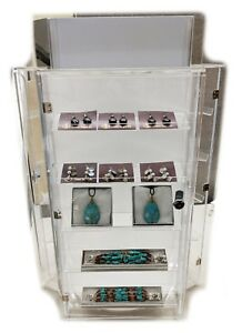 High Quality Countertop Revolving And Locking Acrylic Jewelry Display Cases