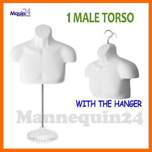 One Mannequin Male Torso W Acrylic Stand Hanger white Men Chest Dress Form