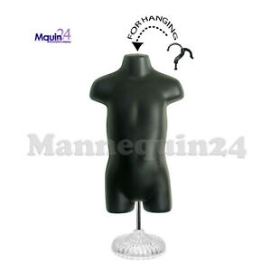 Child Torso Mannequin Black With Stand Kids Plastic Dress Form