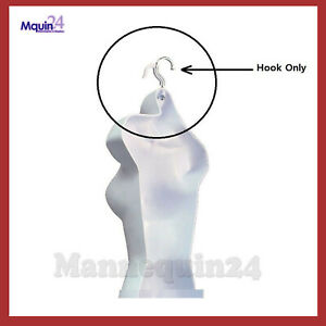 5 White Hooks For Plastic Hanging Mannequins bent To Hang Mannequins Straight