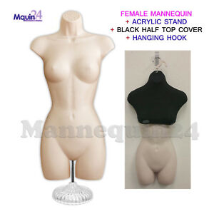 Female Mannequin Dress Form Flesh W stand Half Top Cover Black Hanging Hook