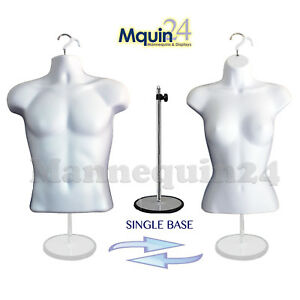 Male Female Dress Form Mannequin Set White 2 Hangers 1 Stand