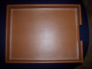 Gorgeous Pottery Barn Leather Office Desk Organizer Box Paper Business Tray