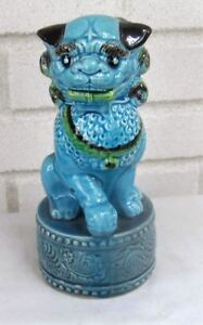 Excellent Oriental Foo Dog Temple Pup Seven A Half Inches Tall Old Pottery
