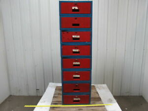Industrial 8 Drawer Storage Small Parts Cabinet Unit 16 wx20 lx54 1 4 h