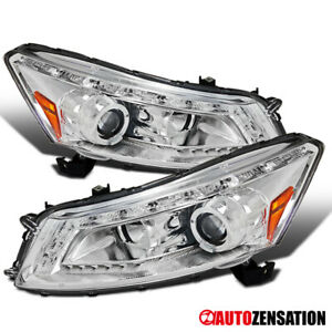 Fit 08 12 Honda Accord 4dr Chrome Led Drl Halo Projector Headlights