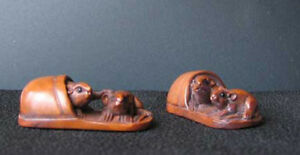 Hand Carved Signed Mice Slipper Boxwood Bead 4128dp