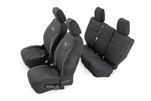 Rough Country Neoprene Seat Covers Black Fit 2008 2010 Jeep Wrangler Jk 4dr Set