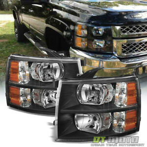 Black 2007 2013 Chevy Silverado 1500 2500 3500 Headlights Headlamps 08 09 10 11