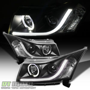 Black 2011 2016 Chevy Cruze Drl Led Strip Halo Projector Headlights Left Right