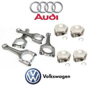 For Audi A3 A4 Vw Jetta Engine Connecting Rod Set W 4 Piston Rings Genuine