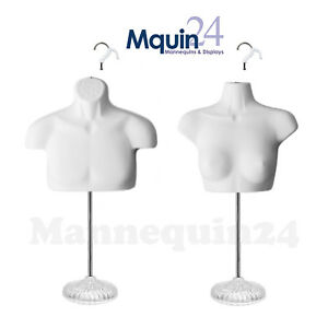 Male Female Torso Mannequin Set White 2 Stands 2 Removal Hooks