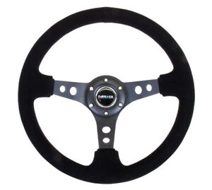 Nrg Steering Wheel Rst 006 s Black Suede Black Spoke With Holes 350mm Deep Dish
