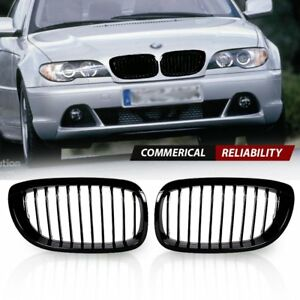 Pair Gloss Black Euro Front Kidney Grille Grill For 03 06 Bmw E46 325ci 330ci 2d