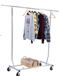 Salesman Clothing Rack Rolling Collapsible