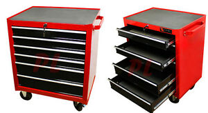 Mobile 26 Metal Steel Roller Tool Box Chest 6 Drawer Storage Cabinet Cart Red