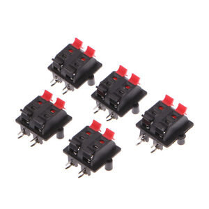 5pcs Double Row 4 Position Cable Clip Push Type Terminal Speaker Panel Connector