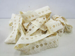 Antique Lot Of Cream Colored Edwardian Machine Made Insert Lace L 164